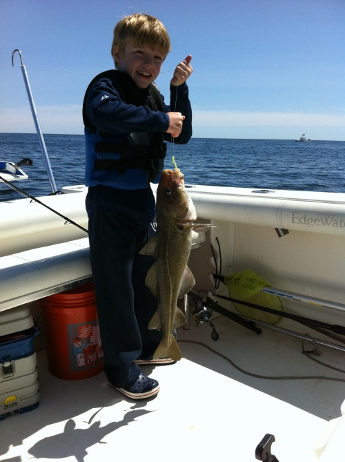 "Reeled up from 170'  a 30"" cod!"